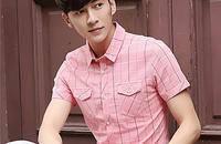 格子短袖衬衫男纯棉免烫薄款韩版修身休闲衬衣潮