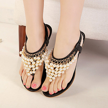 平底夹脚凉鞋夏 波西米亚水钻夹趾凉鞋女平跟