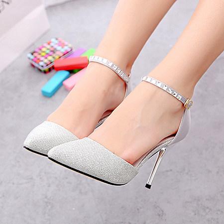 高跟鞋子水钻一字搭扣性感镂空女鞋尖头单鞋