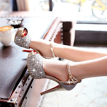 韩版时尚亮片细跟高跟鞋性感夜店女鞋子