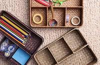 桌面收纳储物盒篮办公杂物耳机零食玩具藤草编筐