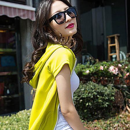 韩版时尚开衫连帽短袖女装短裙运动服三件套装潮