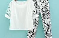 新款时尚套装女 宽松T恤印花哈伦九分裤两件套女