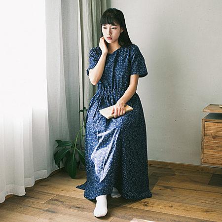 复古棉麻长裙 中长款盘扣短袖修身连衣裙