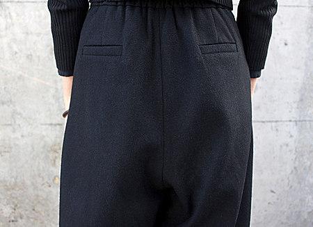 高腰毛呢阔腿裤