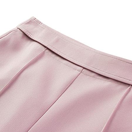 粉色高腰阔腿裤
