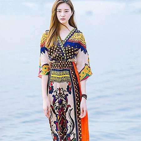 泰国民族风沙滩度假长裙