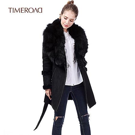 麂皮绒系带大衣