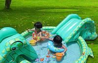 多功能儿童游戏水池 鳄鱼游泳池 带双滑梯
