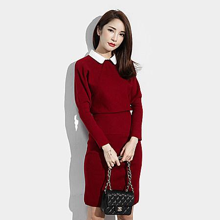 韩版纯色修身长袖收腰弹力针织连衣裙女中裙新款