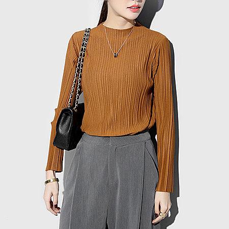 韩国通勤立领纯色修身显瘦打底长袖T恤上衣女