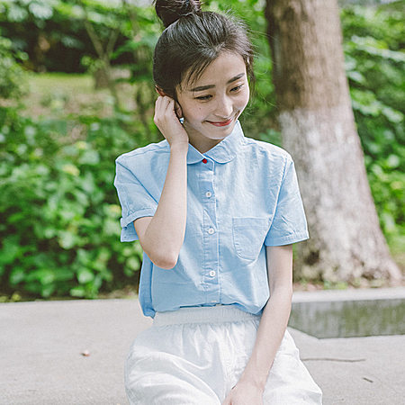 夏季新款日系文艺小清新圆翻领红扣纯色宽松短袖