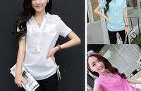 夏装新款文艺女装短袖衬衫韩版修身V领亚麻衬衣
