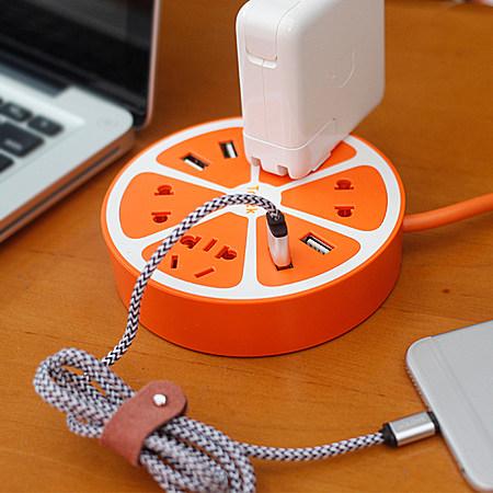 柠檬插排插座 USB充电器创意智能插座排插