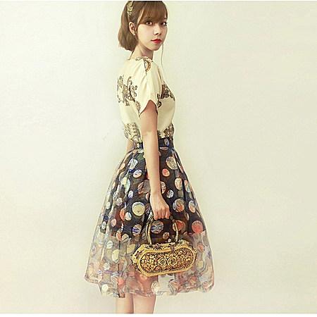 韩版修身显瘦复古印花圆领短袖中腰雪纺连衣裙