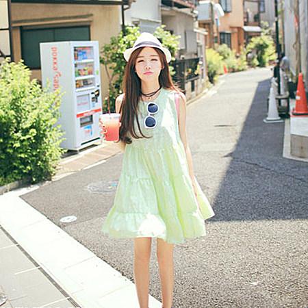 甜美刺绣碎花中长款裙子显瘦无袖连衣裙背心裙女