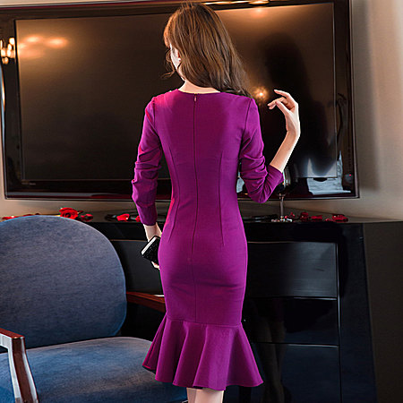 单排扣鱼尾连衣裙