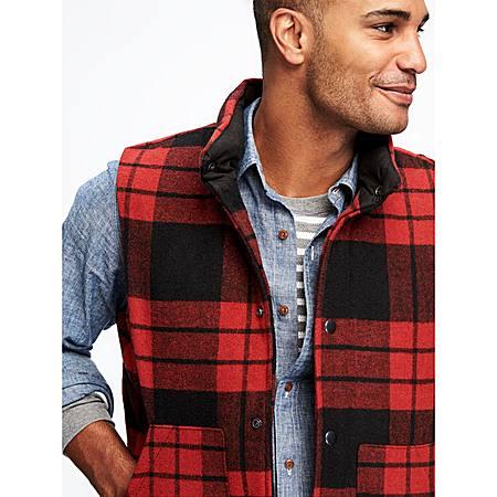 羊毛混纺格纹棉服背心