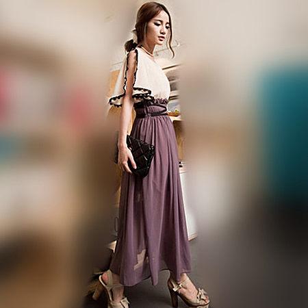 夏韩版紫色淑女修身雪纺沙滩高腰大摆连衣长裙