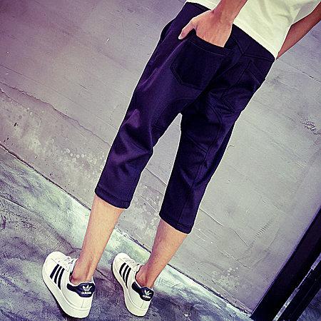 哈伦裤潮小脚男裤子