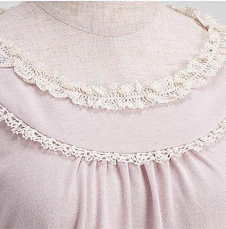 款甜美蕾丝圆领长袖圆领T恤打底衫女上衣加肥
