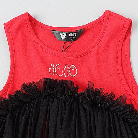 JOJO女童连衣裙童装中大童短袖个性时尚儿童纱裙