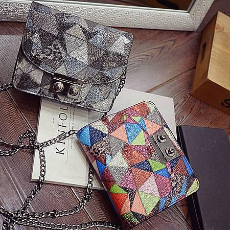 欧美时尚几何印花单肩斜挎迷你小方包时尚链条包