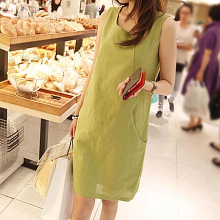 新款大码女装纯色背心连衣裙修身亚麻裙潮