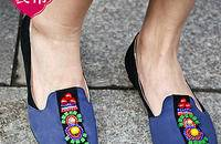 夏季撞色钉珠单鞋 浅口平底平跟女