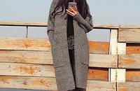 毛衣女 宽松外套加厚学院风开衫大码中长款