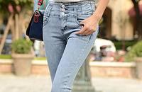 高腰弹力牛仔裤女铅笔长裤小脚修身显瘦女宽松