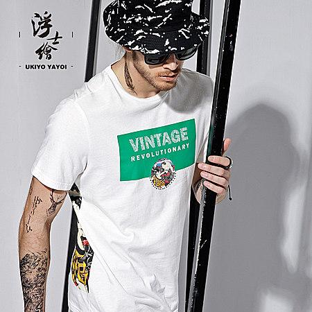 日系浮世绘字母印花T恤