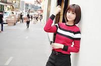 韩版百搭 经典条纹配色 修身打底针织衫
