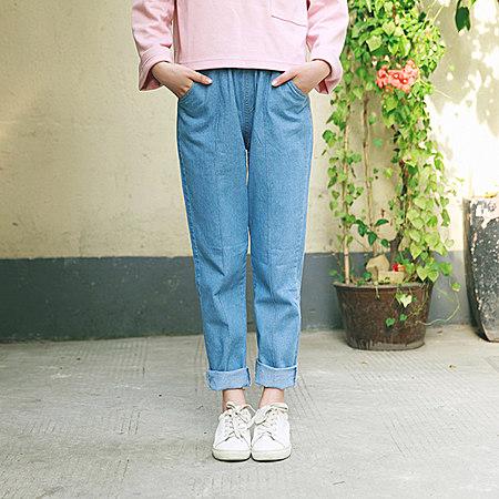 复古文艺牛仔长裤