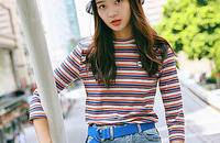 彩色条纹t恤