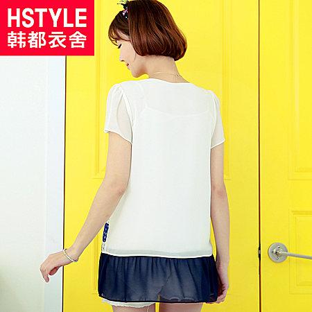 韩都衣舍夏装新款女装蕾丝拼接印花假两件雪纺衫