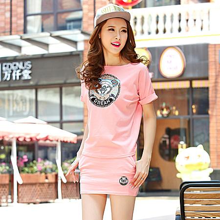 韩版宽松大码短裤裙时尚两件套装