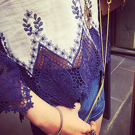 小清新刺绣舒适棉质蕾丝上衣