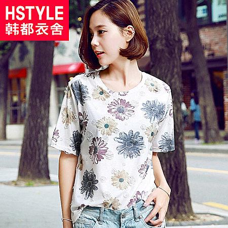 韩都衣舍15夏装新款女印花拼色宽松短袖T恤