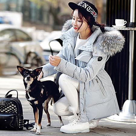 冬装新款潮大毛领加厚奢华羽绒衣中长款羽绒服