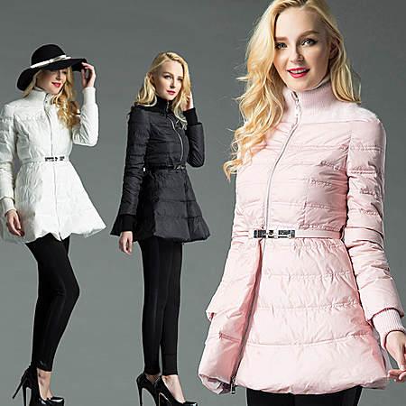 高端定制冬装中长款收腰大裙摆蓬蓬裙羽绒服