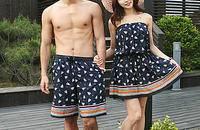 韩国新款钢托比基尼聚拢显瘦游泳衣女情侣装现货