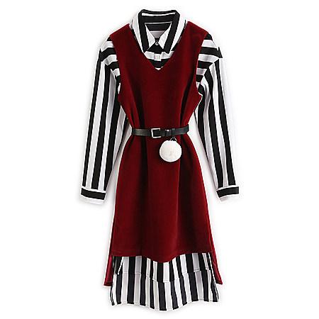 衬衫裙背心连衣裙套装