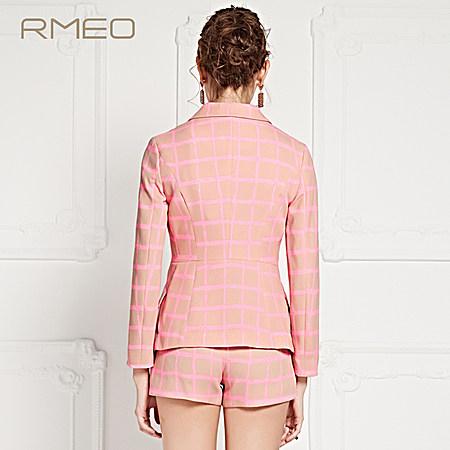 浪漫一身 2017春装新款 撞色几何格纹西装外套