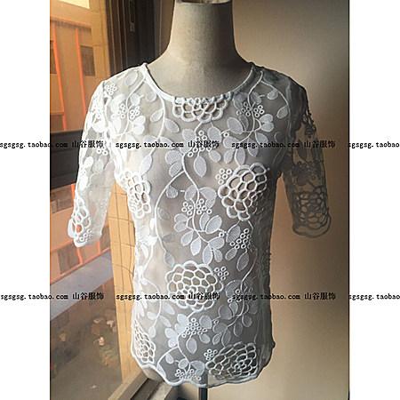新款宽松短款钩花镂空短袖蕾丝衫百搭透视上衣