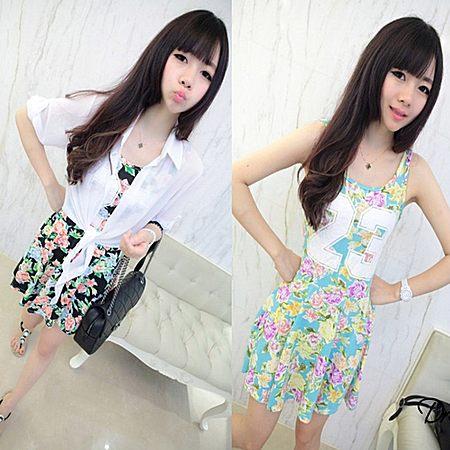 韩版夏季女装新款吊带背心打底裙子碎花连衣裙