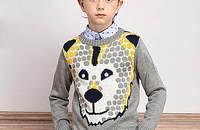 男童动物头圆领针织衫