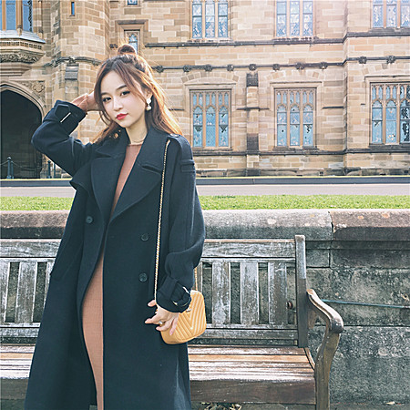 款新款显瘦韩版毛呢外套中长款