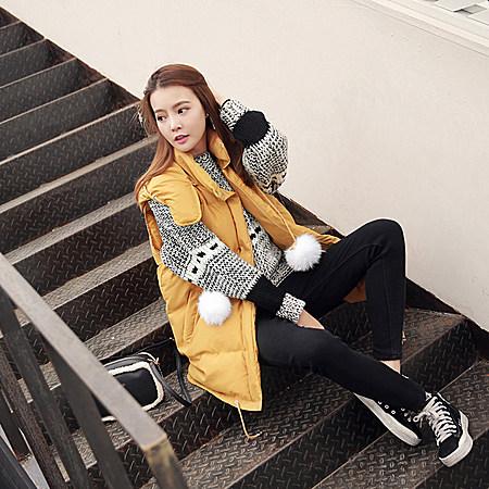 连帽中长款马甲冬装女新款韩版毛球棉衣外套