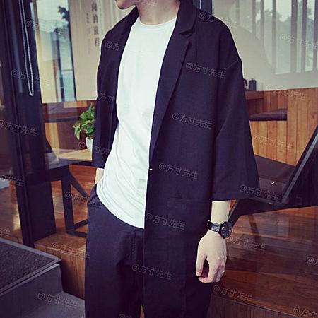 七分袖西装领时尚宽松薄款风衣
